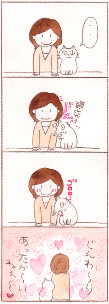 う、嬉しい、猫の頭突きっ。